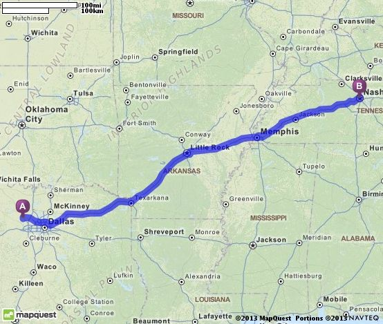 Driving Directions from Newark Texas 76071 to Nashville – Mapquest Driving Directions