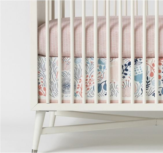 Meadow Powder Blue Canvas Crib Skirt From Dwell Studio Would Love