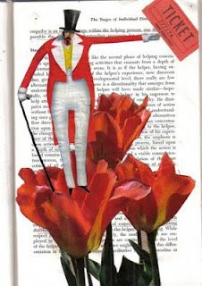 """Bleubeard and Elizabeth - She's an enthusiastic blogger and enjoys trying all kinds of techniques and materials - especially altered books, as her blog is called """"Altered Book Lover.""""  I like the whimsy in this collage."""