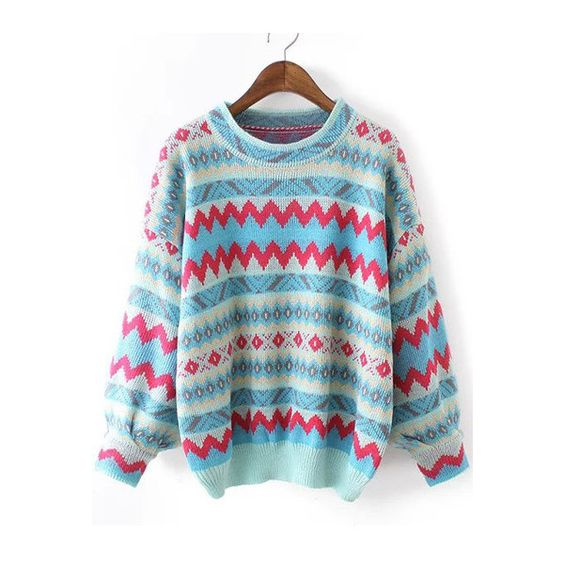 Multicolor Round Neck Zigzag Print Sweater ($22) ❤ liked on Polyvore featuring tops, sweaters, zig zag top, multi color sweater, multi colored sweater, blue top and colorful tops