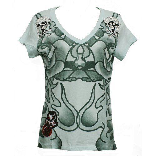 Ed Hardy Women's Shirts in Light Blue Green 2 Skulls on Shoulder Size: S