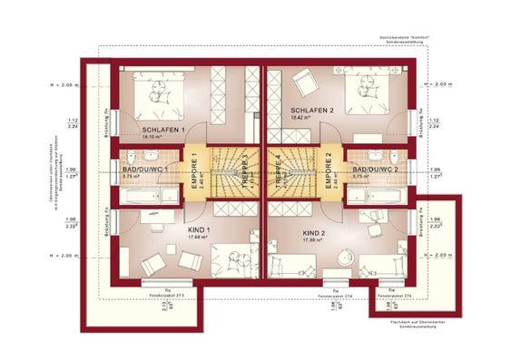 Grundriss Zweifamilienhaus Obergeschoss mit Satteldach - küche mit kochinsel grundriss