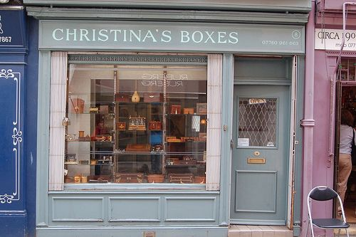 Old Victorian Shop Front, Christina's Boxes stocks antique Georgian, Regency and Victorian Jewellery boxes...Camden Passage, London...