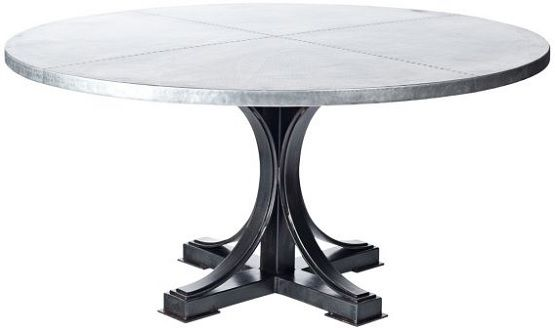 Hammered Zinc 72 Inch Round Dining Table Dining Table 72 Inch