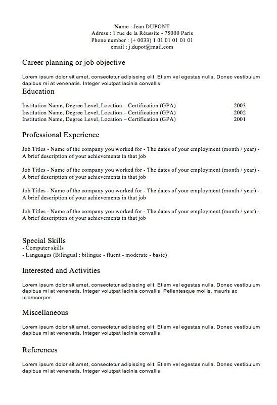 Cv Classic N1 Curriculum Vitae Downloadable Resume Template Sample Resume Templates Resume Examples