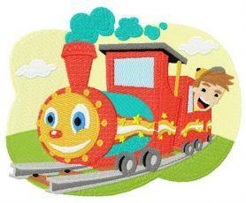 Kid's train machine embroidery design. Machine embroidery design. www.embroideres.com