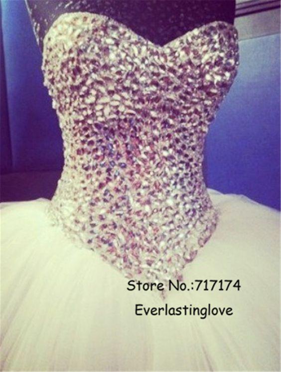 Sweetheart Rhinestone Crystal Beads White Tulle Floor Length Elegent Ball Gown Vestido De Noiva Prom Gowns