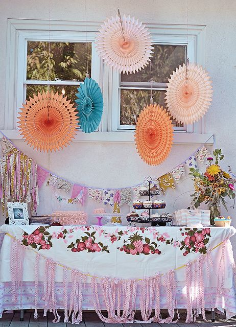 before the pies came out of the oven by jjagner, via Flickr    1st birthday ruffles fabric bunting pink shabby chic vintage highchair shop sweet lulu pinwheels tablecloth