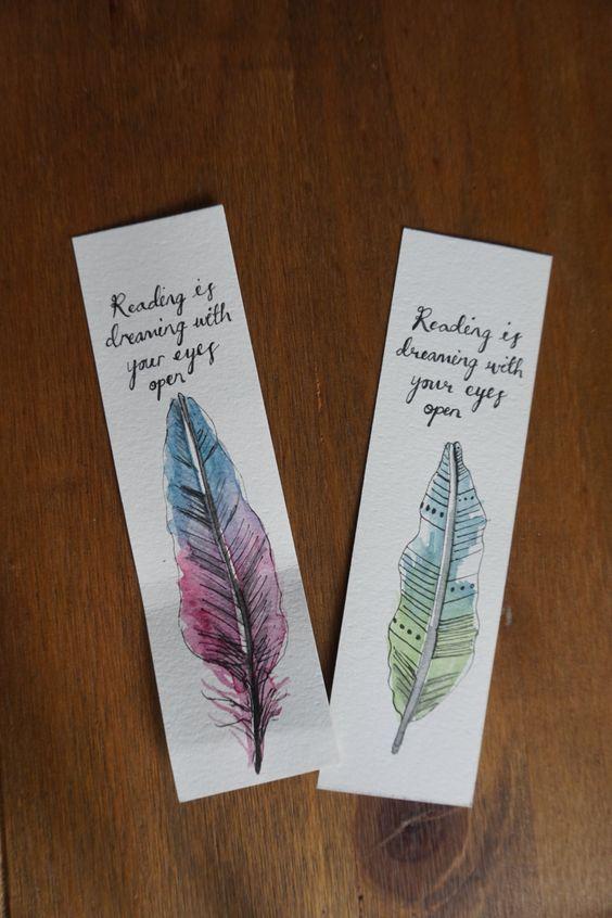 Custom bookmark ~ Feather watercolour illustration ~ Bookmark gift ~ Stocking filler ~ Art bookmark ~ Hand painted gift ~ Stocking filler by byHANMADE on Etsy.