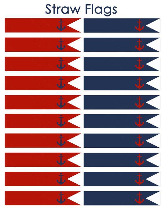 Descarga inmediata náutica banderas de paja! JPEG 300dpi imprimible DIY! Anclas de cumpleaños náutico marinero azul marino, azul marino y rojo