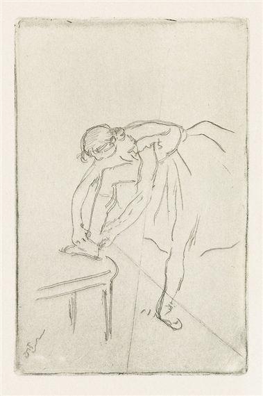 Edgar Degas - Danseuse mettant son chausson, circa...