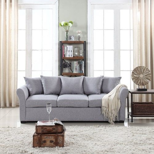 Classic And Traditional Ultra Comfortable Linen Fabric Sofa Living Room Fabric Couch Sky Blue Couch Fabric Living Room Leather Modern Furniture Living Room