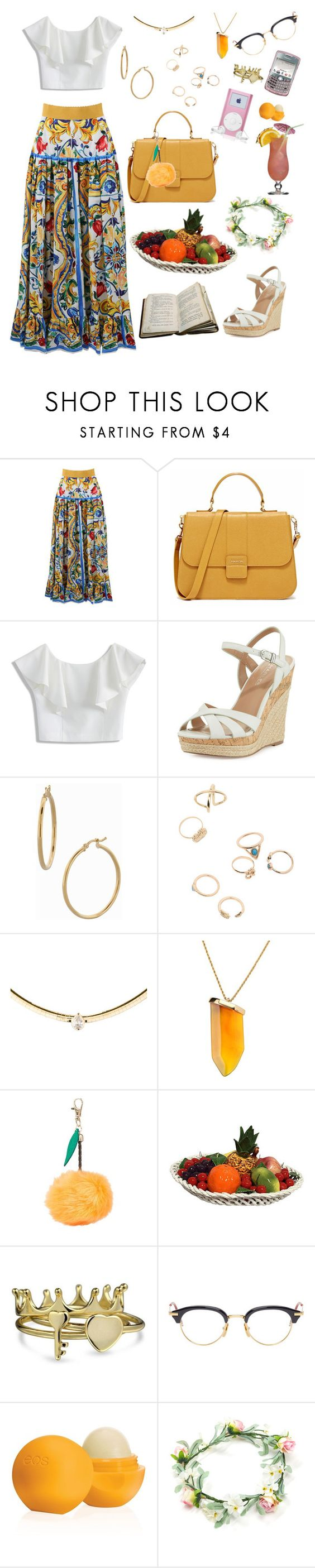 """""""Floral Princess"""" by tiffanydgonzalez on Polyvore featuring Dolce&Gabbana, Chicwish, Charles by Charles David, Bony Levy, Kenneth Jay Lane, Bling Jewelry, Thom Browne and Eos"""