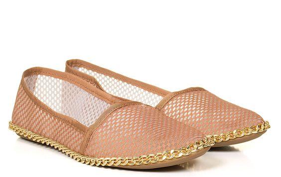 Taquilla - Alpargata caramelo de tela com corrente Taquilla - Loja online de sapatos femininos