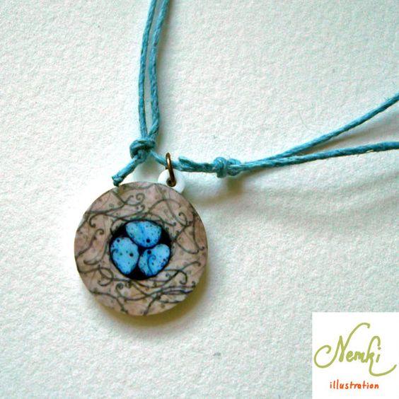 Bird's Nest acrylic pendant https://www.etsy.com/uk/listing/173436816/nest-illustrated-acrylic-pendant-1-inch?