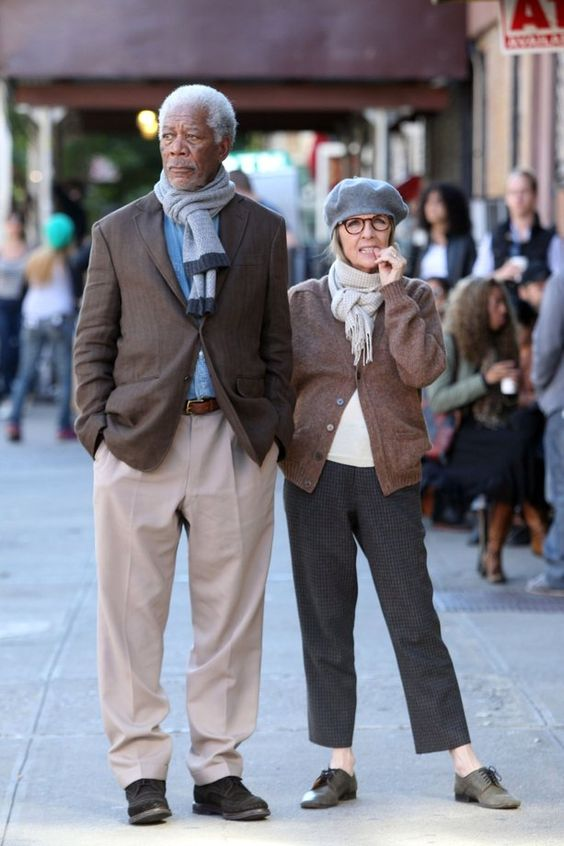 "Morgan Freeman and Diane Keaton film ""Life Itself"" in September in New York City.:"