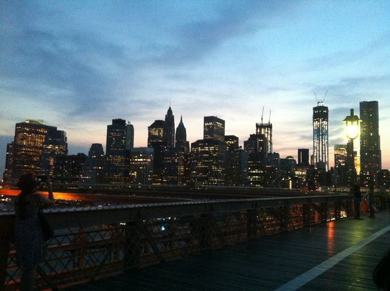 View of Downtown Manhattan from the Brooklyn Bridge after a thunderstorm.