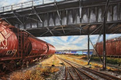 2014 vagons under 1st avenue bridge 47x39 canvas   3500