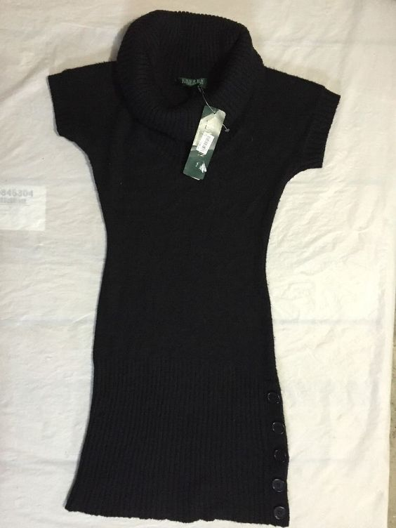 Lauren Ralph Lauren Petite Women's Black Cowl Neck Wool Blend Dress Size PM/PL #LaurenRalphLauren #SweaterDress