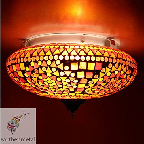 Buy Earthenmetal Handcrafted Mosaic Decorated Circular Red Glass Ceiling Lamp Online At Low Prices In India Amazon In Ceiling Lamp Mosaic Glass Lamp