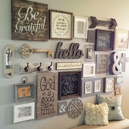 Decorate a feature wall with wood accents that you hand for Wooden art home decorations