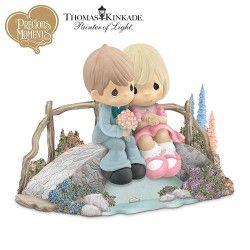Thomas Kinkade Precious Moments Figurine: Love Bridges Our Hearts