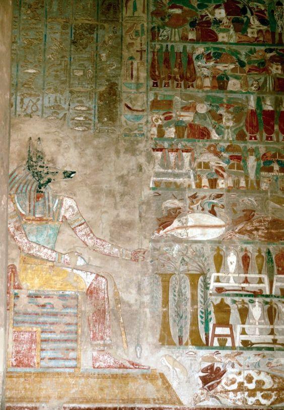 Anúbis, deus da morte. Séc. XV a.C. Pintura sobre pedra calcária. Deir el-Bahri, Tebas (EG).