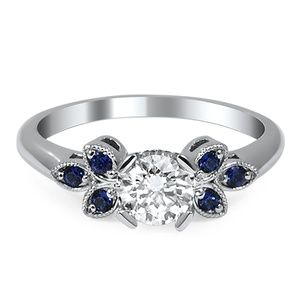 Trifoliate Diamond and Sapphire Ring - Brilliant Earth Great that the sapphires are inset a bit so they don't chip