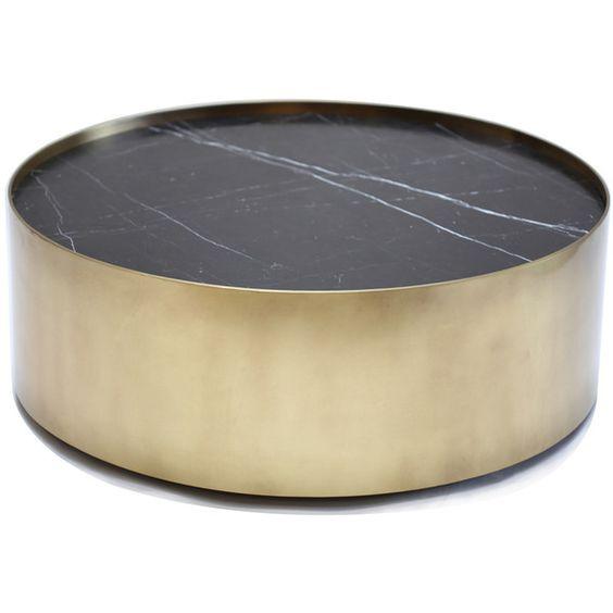 Santiago Modern Burnished Brass Drum Coffee Table: Kelly Wearstler Brass Drum Coffee Table