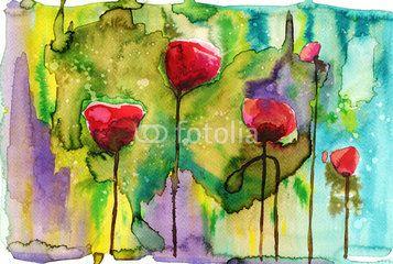 Ilustração: watercolor illustration depicting spring flowers in the meadow