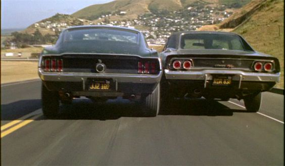 """Bullitt (1968) — IMDB Perhaps the most epic movie about american muscle. McQueen pretty  much made the Mustang a cool icon, and the Charger was forever  transformed into the """"baddies""""' car."""
