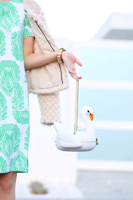 white swan clutch Kate Spade | swans swimming in the summer