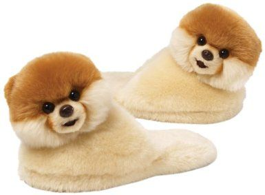 """Amazon.com: Gund Boo The World's Cutest Dog Child Sized Slippers 11"""" Plush, One Size: Toys & Games"""