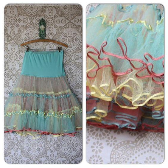 Vintage 1950's Multicolored Crinoline Petticoat by pursuingandie, $72.50