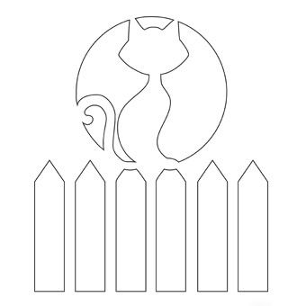 Cat on a Fence pumpkin stencil - Free-N-Fun Halloween from Oriental Trading: