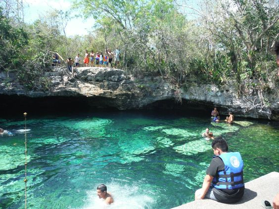 Cenote Azul across highway from Barcelo Maya Resort. An easy 1 block walk in from Hwy 307. $7 USD or 100 Pesos on Apr.9/16.