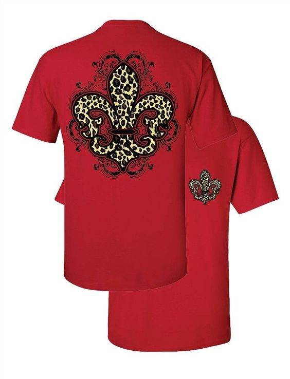 Southern Couture Leopard Fleur De Lis Animal Print Red Girlie Bright T | SimplyCuteTees