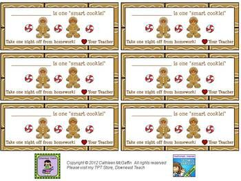Free Holiday Homework Passes...4 Different Designs ...
