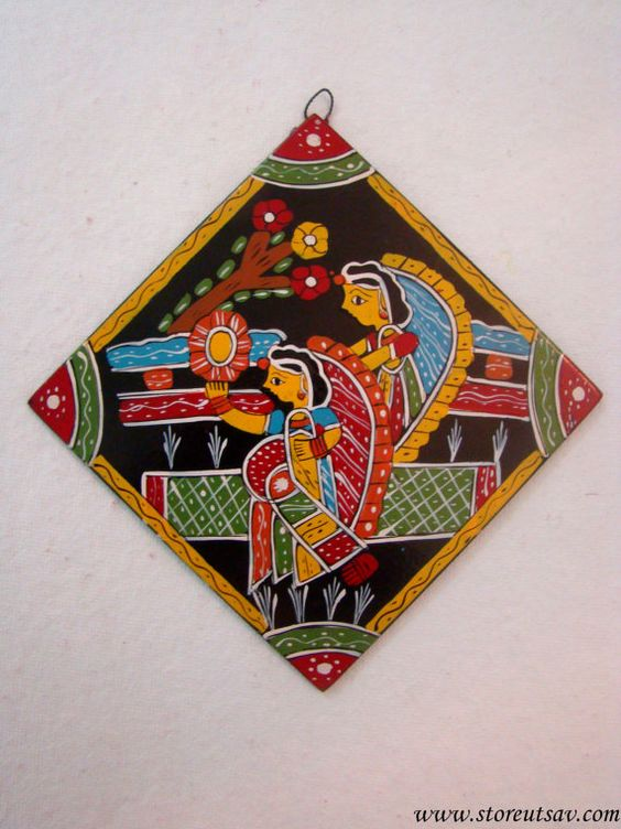 home decor indian handicraft hanging plate with madhubani painting of bihar in east india design