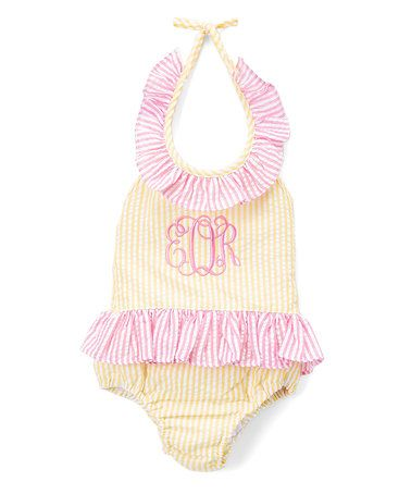 Look at this #zulilyfind! Yellow Monogram One-Piece Sunsuit - Infant, Toddler & Girls #zulilyfinds: