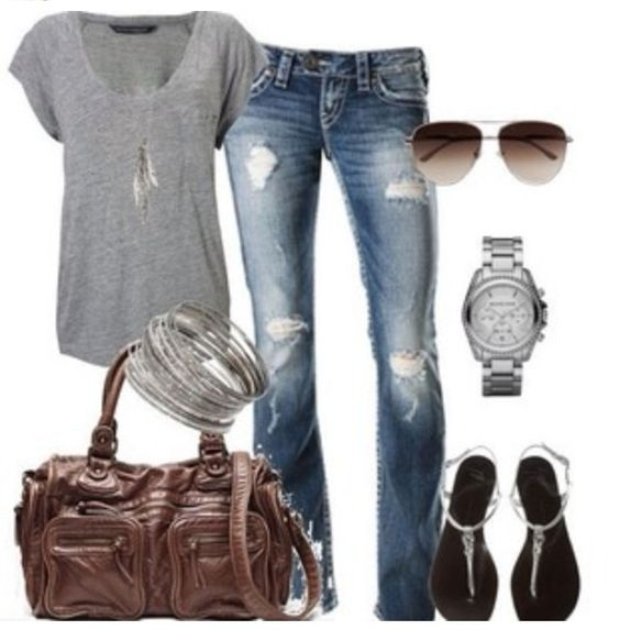 Cute casual outfit gray short sleeve shirt, medium washed boot cut ...