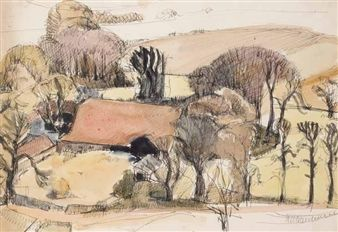 LANDSCAPE WITH FARM By Keith Vaughan