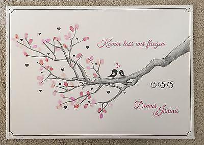 wedding tree ast v gel leinwand g stebuch hochzeit geschenk fingerabdruck baum b ume hochzeit. Black Bedroom Furniture Sets. Home Design Ideas