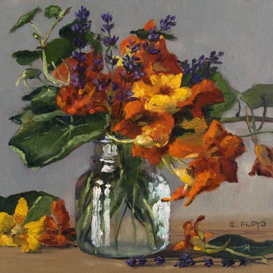 Original Oil Painting - Nasturtiums and Lavender - Elizabeth Floyd - 8 x 8…