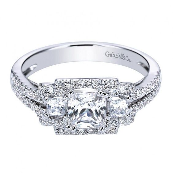 2.15cttw 3-stone princess cut diamond engagement ring with pave set diamond frame from Mullen Jewelers