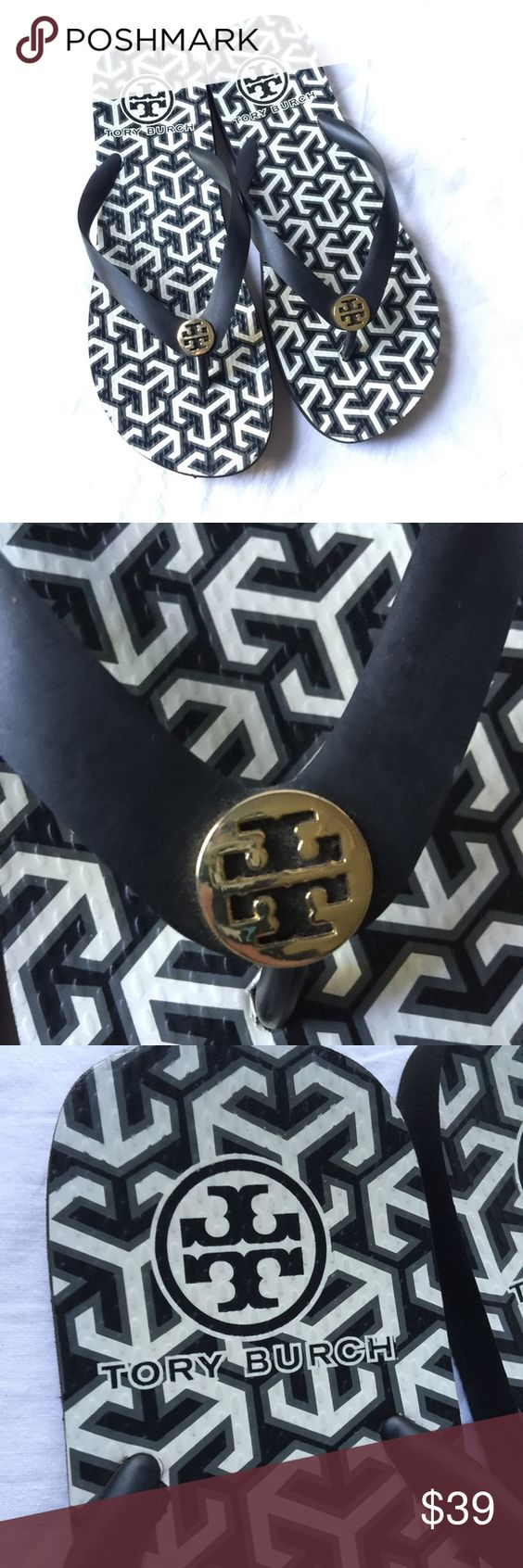 Tory Burch Black and White Thin Flip Flops Lightly worn adorable Tory Burch Thin Flip Flop sandals with jelly thong straps. Large gold Tory insignia, with geometric black and white pattern on insoles. No noticeable damage, minor sole wear. Authentic. Size 9. Tory Burch Shoes Sandals