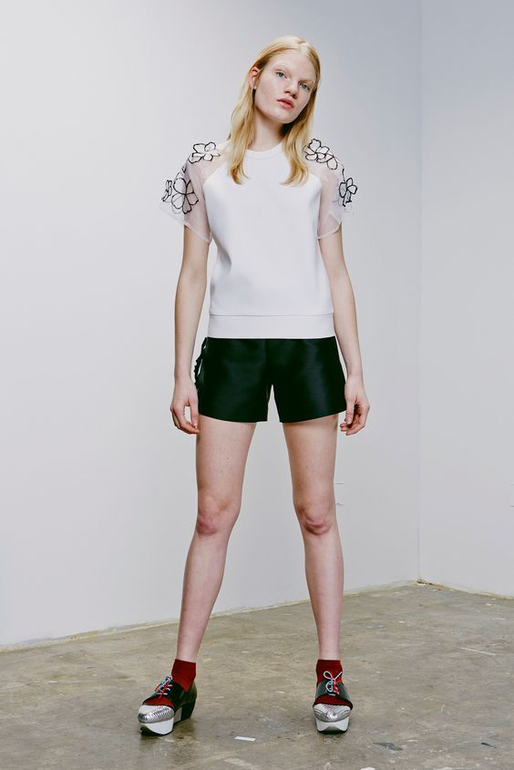 Eudon Choi | Resort 2015 | 12 White short sleeve top and black shorts