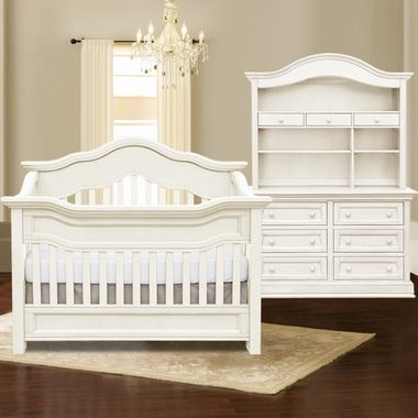 Baby Appleseed Millbury 3 Piece Nursery Set - Convertible Crib, Double Dresser and Hutch in Colonial White FREE SHIPPING
