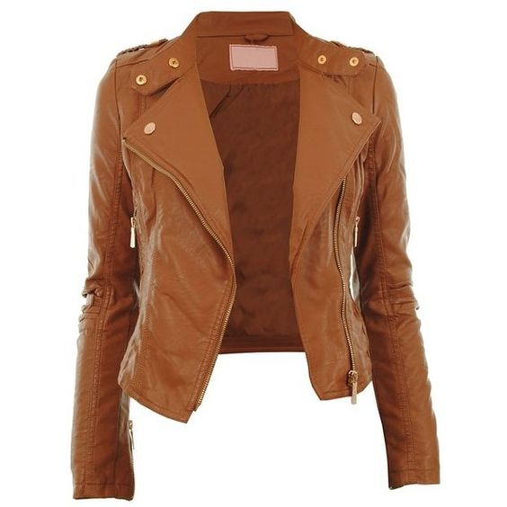 Diana New Womens Faux Leather Biker Gold or Metal Button Zip Crop... (£33) ❤ liked on Polyvore featuring outerwear, jackets, tops, coats, imitation leather jacket, brown faux leather jacket, synthetic leather jacket, vegan biker jacket и brown jacket