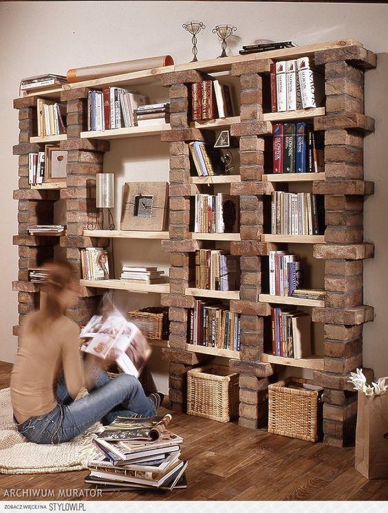 Bücherregale, Buch and Ziegel on Pinterest
